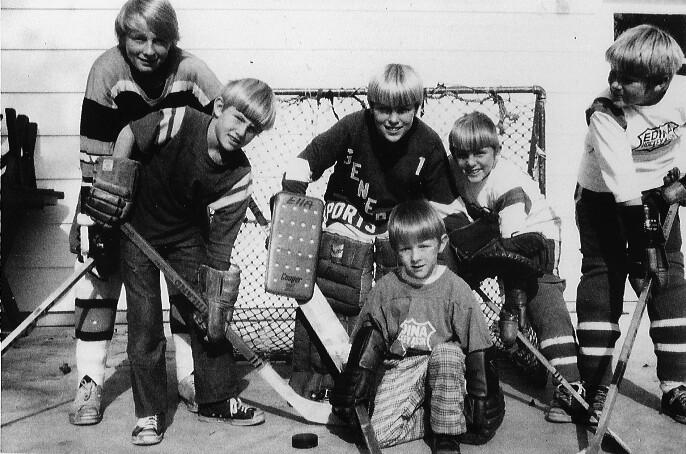 The Carroll boys in their Edina hockey jerseys.