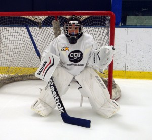 A young goalie at our camp at Richfield.